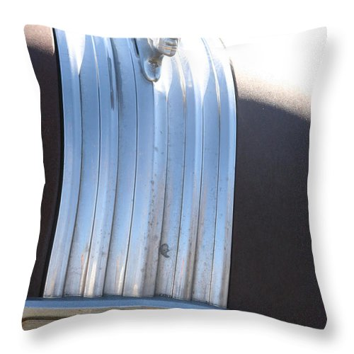 Old Antique Pontiac Car 1950s Hood Ornament Vehicle Throw Pillow featuring the photograph Pontiac by Andrea Lawrence