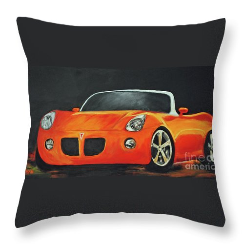 Car Throw Pillow featuring the painting Pontiac Solstice by Carolyn Shireman