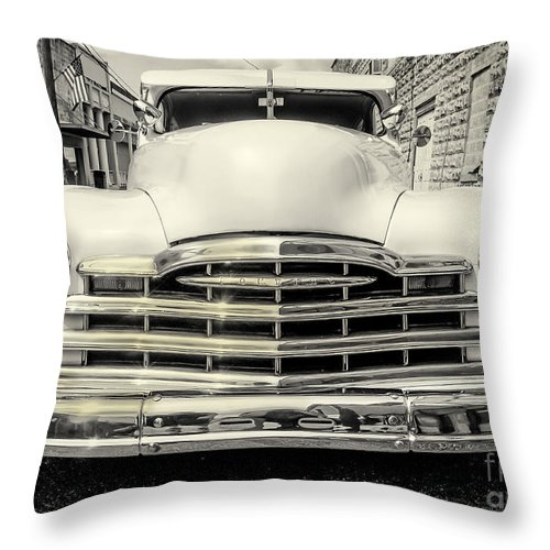 Cars Throw Pillow featuring the photograph Pontiac Torpedo In Black And White by Scott Olson