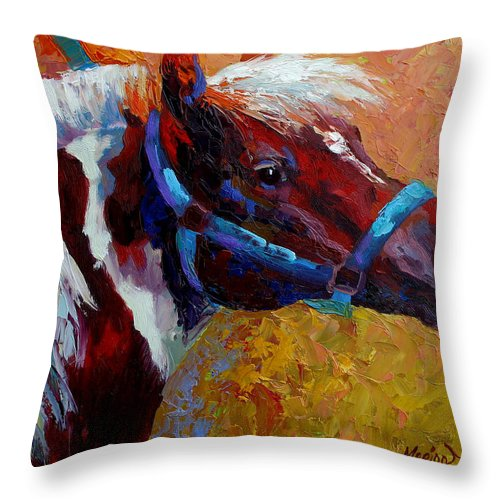 Western Throw Pillow featuring the painting Pony Boy by Marion Rose