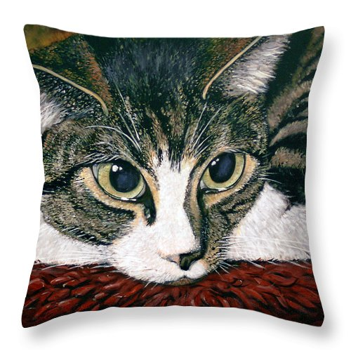 Cat Throw Pillow featuring the painting Pooky by Arie Van der Wijst