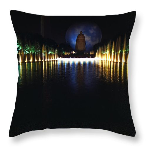 Pool Throw Pillow featuring the photograph Pool And Perisphere by David Halperin