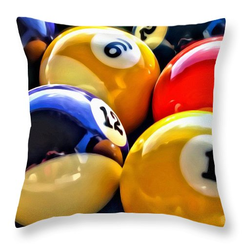 Pool Throw Pillow featuring the photograph Pool Balls 2 by Lillian Bell