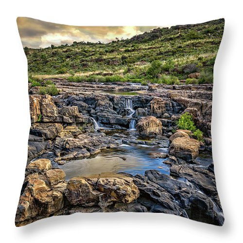Africa Throw Pillow featuring the photograph Pools And Waterfalls by Maria Coulson