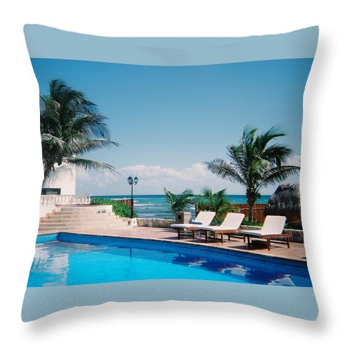 Resort Throw Pillow featuring the photograph Poolside by Anita Burgermeister