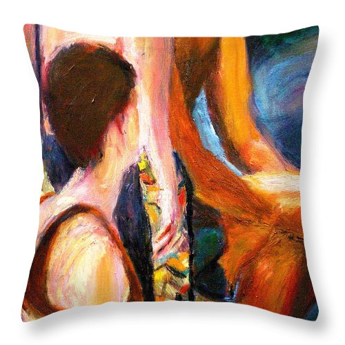 Dornberg Throw Pillow featuring the painting Poolside by Bob Dornberg