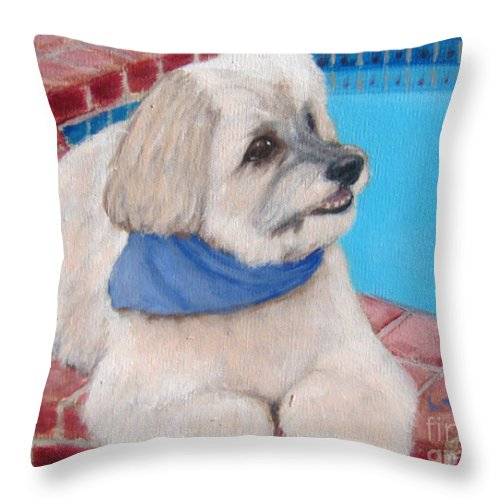 Dogs Throw Pillow featuring the painting Poolside Puppy by Laurie Morgan