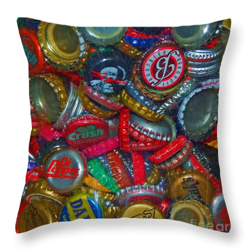 Bottles Throw Pillow featuring the photograph Pop Art by Debbi Granruth