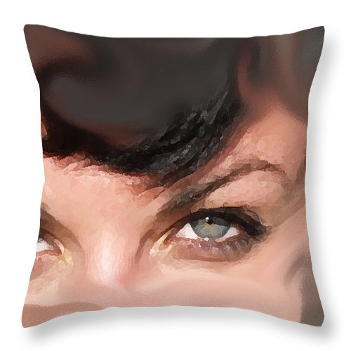 Eyes Throw Pillow featuring the photograph Pop Art Eyes by Heather Coen