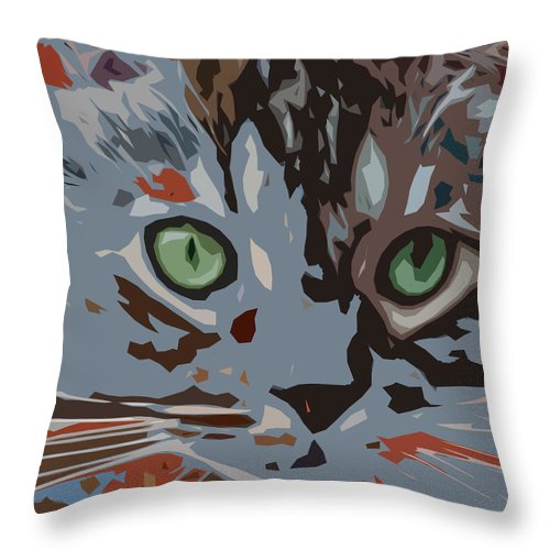 Cat Throw Pillow featuring the digital art Purrfection by David G Paul