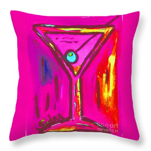 Martini Throw Pillow featuring the painting Pop Art Martini Pink Neon Series 1989 by Sidra Myers