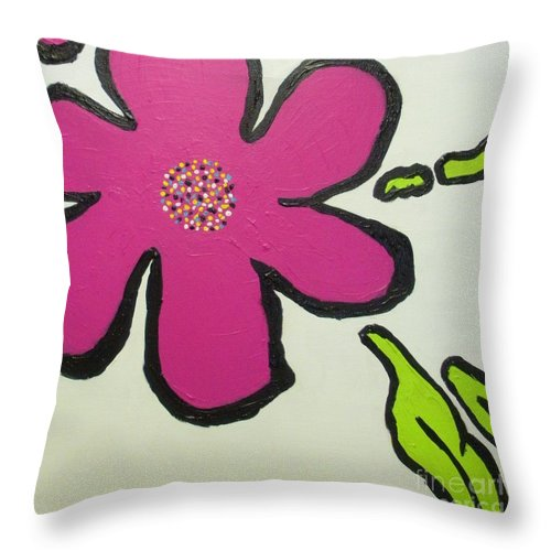 Flower Throw Pillow featuring the painting Pop Art Pansy by Maria Bonnier-Perez