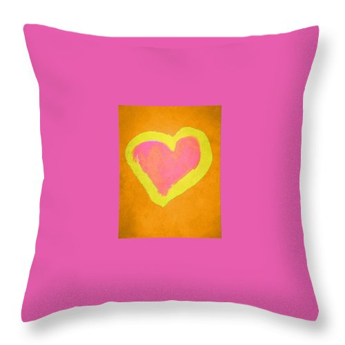 Orange Throw Pillow featuring the painting Pop Heart - Orange by Empowered Creative Fine Art