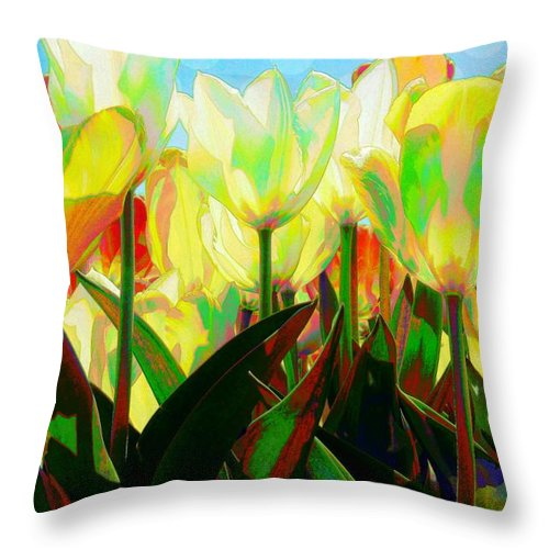 Throw Pillow featuring the digital art Popart Tulips by Jeffrey Todd Moore
