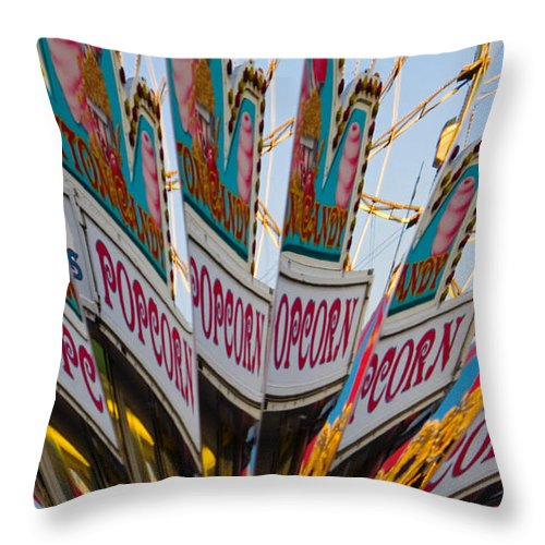 Concession Stand Throw Pillow featuring the photograph Popcorn by Skip Hunt