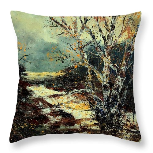 Tree Throw Pillow featuring the painting Poplars 45 by Pol Ledent