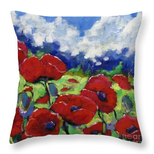 Art Throw Pillow featuring the painting Poppies 003 by Richard T Pranke