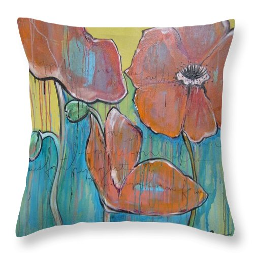 Pop Art Throw Pillow featuring the painting Poppies 3 by Laurie Maves ART