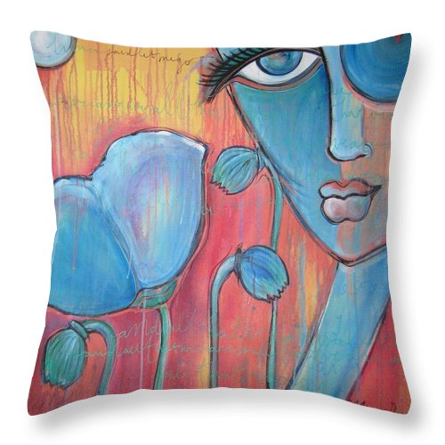 Pop Art Throw Pillow featuring the painting Poppies 7 Luna Let Me Go by Laurie Maves ART