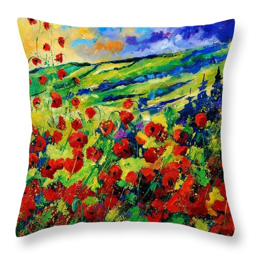 Flowers Throw Pillow featuring the painting Poppies 78 by Pol Ledent