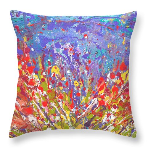 Poppies Throw Pillow featuring the painting Poppies Abstract Meadow Painting by Manjiri Kanvinde