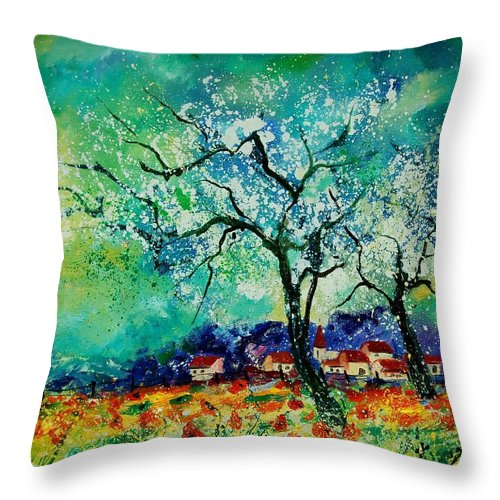 Landscape Throw Pillow featuring the painting Poppies And Appletrees In Blossom by Pol Ledent
