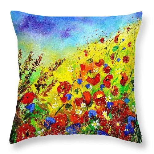 Poppies Throw Pillow featuring the print Poppies And Blue Bells by Pol Ledent