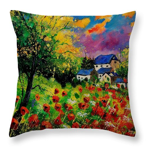 Landscape Throw Pillow featuring the painting Poppies and daisies 560110 by Pol Ledent