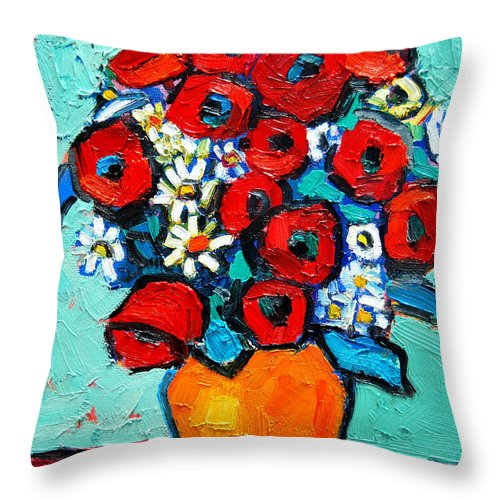 Floral Throw Pillow featuring the painting Poppies And Daisies Bouquet by Ana Maria Edulescu