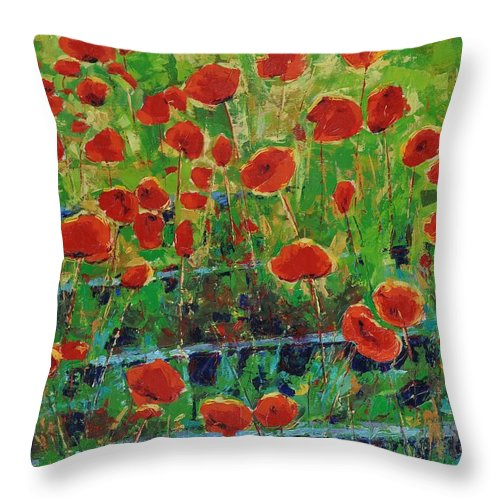 Poppies Throw Pillow featuring the painting Poppies And Traverses 1 by Iliyan Bozhanov