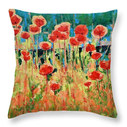 Poppies Throw Pillow featuring the painting Poppies And Traverses 2 by Iliyan Bozhanov