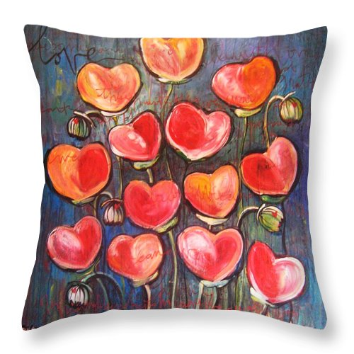 Poppies Throw Pillow featuring the painting Poppies Are Hearts Of Love We Can Give Away by Laurie Maves ART