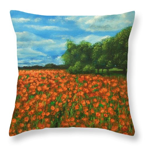 Poppy Throw Pillow featuring the painting Poppies Field Original Painting by Natalja Picugina