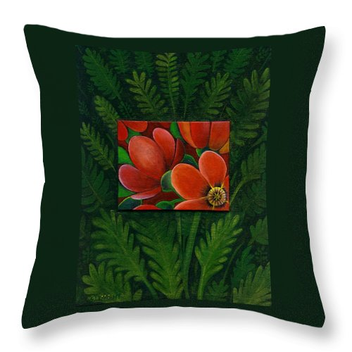 Poppy Throw Pillow featuring the painting Poppies by Helena Tiainen
