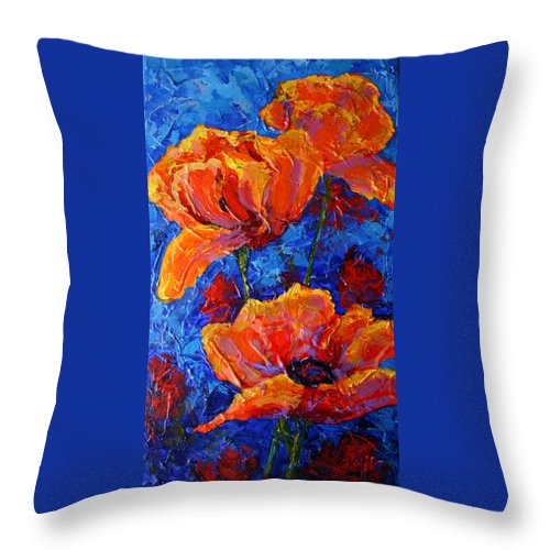 Poppies Throw Pillow featuring the painting Poppies II by Marion Rose