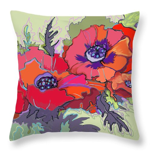 Poppies Red Orange Purple Sage Green Mauve Throw Pillow featuring the digital art Poppies IIi by Peggy Wilson