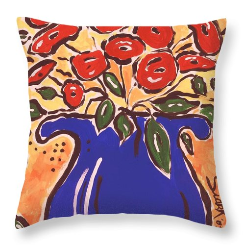 Floral Throw Pillow featuring the painting Poppies In Blue Vase 2001 by Sidra Myers