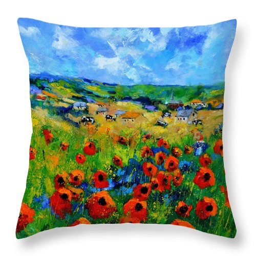 Landscape Throw Pillow featuring the painting Poppies in Ieper by Pol Ledent