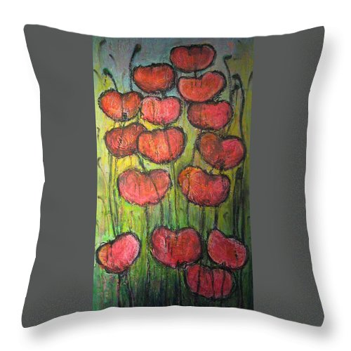 Poppies Throw Pillow featuring the painting Poppies In Oil by Laurie Maves ART