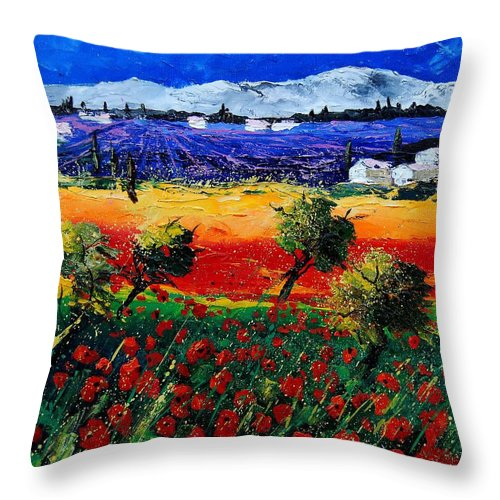 Poppy Throw Pillow featuring the painting Poppies in Provence by Pol Ledent