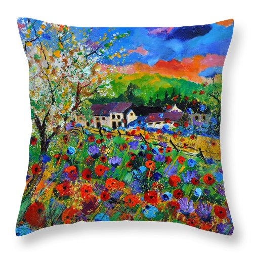 Poppies Throw Pillow featuring the painting Poppies in Sorinnes by Pol Ledent