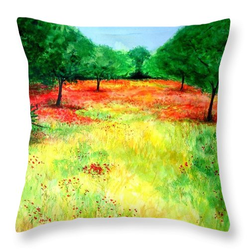 Landscape Throw Pillow featuring the painting Poppies In The Almond Grove by Lizzy Forrester