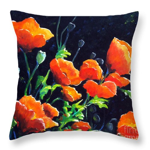Pavot Throw Pillow featuring the painting Poppies In The Light by Richard T Pranke