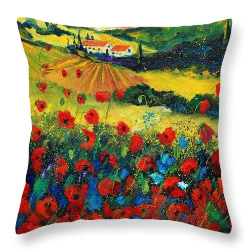Flowers Throw Pillow featuring the painting Poppies In Tuscany by Pol Ledent