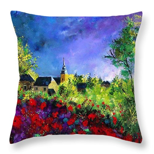Flowers Throw Pillow featuring the painting Poppies In Villers by Pol Ledent
