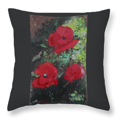 Red Throw Pillow featuring the painting Poppies by Lizzy Forrester
