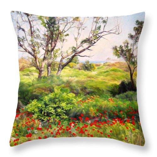 Artist Maya Bukhin Throw Pillow featuring the painting Poppies by Maya Bukhina