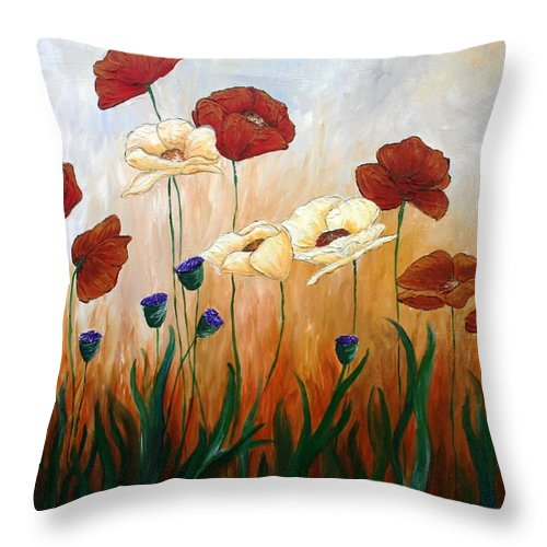 Poppies Throw Pillow featuring the painting Poppies by Melissa Wiater Chaney