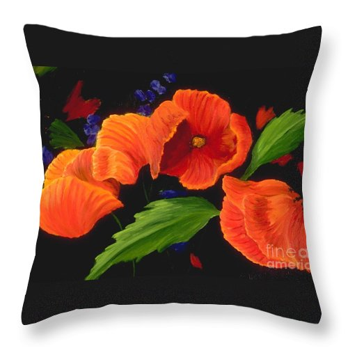 Poppies Throw Pillow featuring the painting Poppies to the Right by Mary Erbert