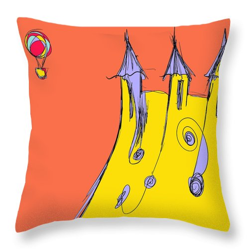 Balloon Throw Pillow featuring the drawing Popping In For A Visit by Jason Nicholas
